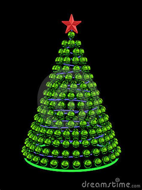 christmas tree from green mirror spheres stock photo