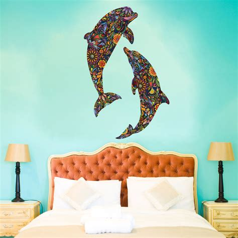 dolphin wall stickers dolphin duo wall sticker large contemporary wall
