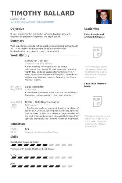 Resume Format Pdf For Computer Operator Op 233 Rateur De L Ordinateur Exemple De Cv Base De Donn 233 Es Des Cv De Visualcv
