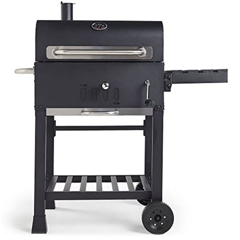 vonhaus charcoal bbq smoker with side table rack