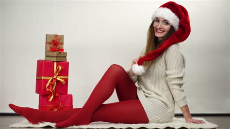 gallery stocking woman in warm wool socks and pantyhose 4k stock footage