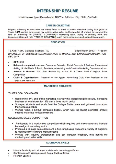 Resume Sections College Student Resume Sle Writing Tips Resume Companion