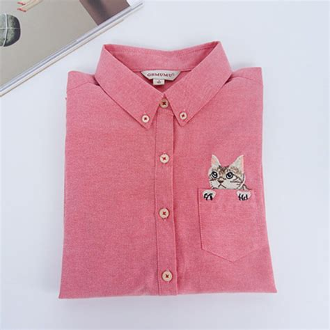 Cat Embroidery Shirt fashion cat embroidery sleeve shirt casual