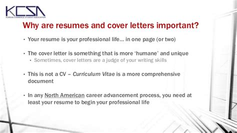 why are cover letters important resume and cover letter workshop october 2013