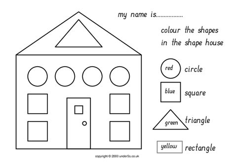 learn colors and shapes color the house house made of color the shapes worksheet free worksheets library