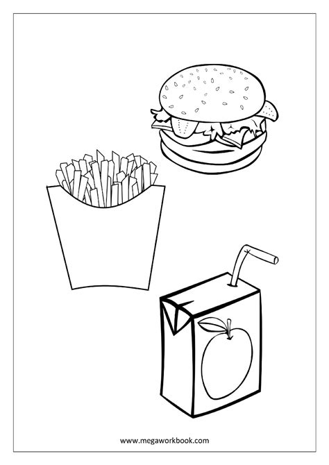Fries Coloring Burger Coloring Pages Fries Coloring Page