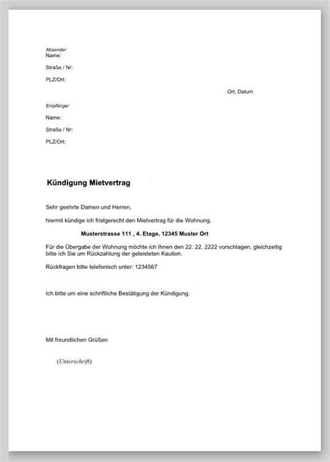 Muster Rechnung Miete K 252 Ndigung Eines Mietvertrages Muster Fwptc Craft
