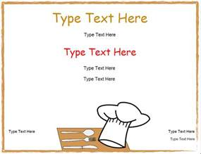 chef recipe template blank certificates chef cooking certificate
