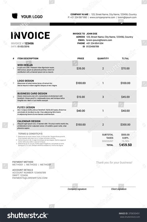 business invoice template vector illustration stationery