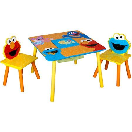 elmo table and chairs sesame storage table and chairs set walmart com