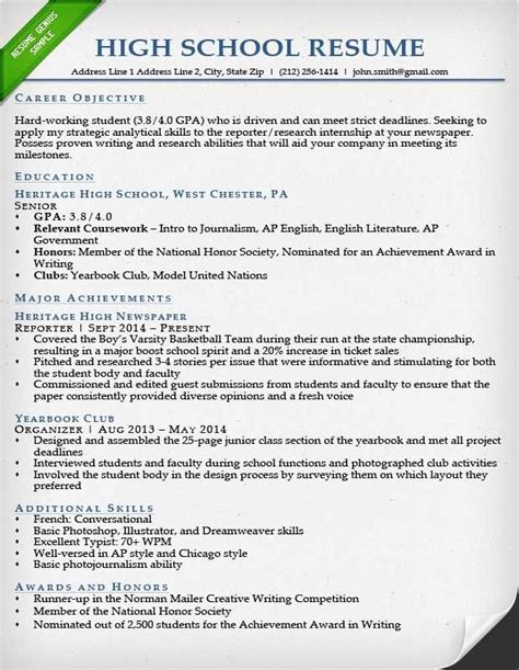 College Application Resume Exles For High School Seniors Best Resume Collection High School Resume Template For College Application