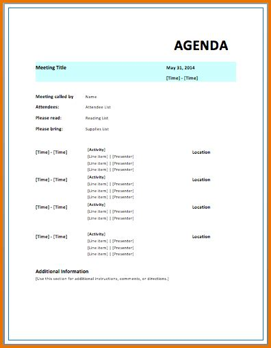 5 free meeting agenda template divorce document