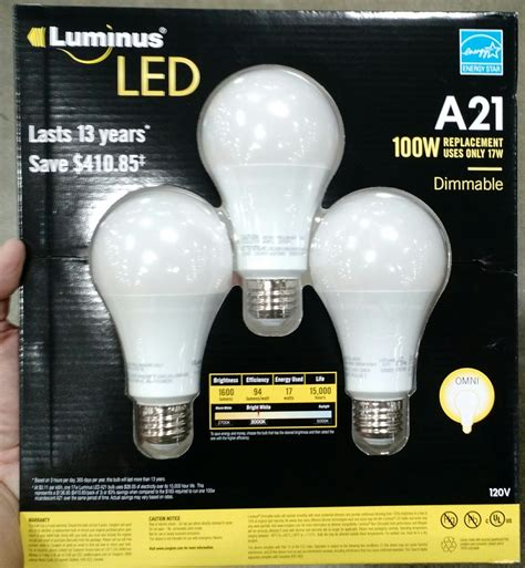 Led Light Bulbs Costco by Costco Luminus Elite A19 A21 Par20 Par30 Br30 B11