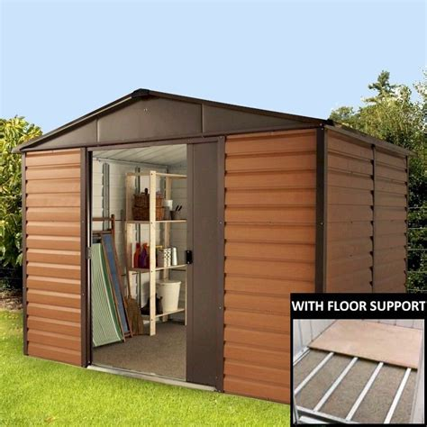 10 X 6 Metal Shed With Floor by Yardmaster Woodgrain 106wgl Metal Shed 6x10 With Floor