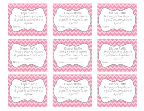 free printable diaper raffle tickets pink diaper raffle ticket grey and pink chevron