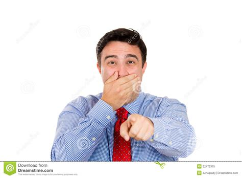 Finger Pointing Meme - man pointing and laughing at you royalty free stock photo