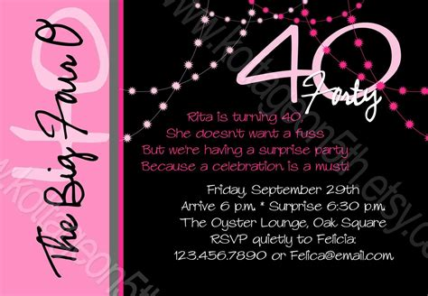 tips to write 40th birthday invitation wording all