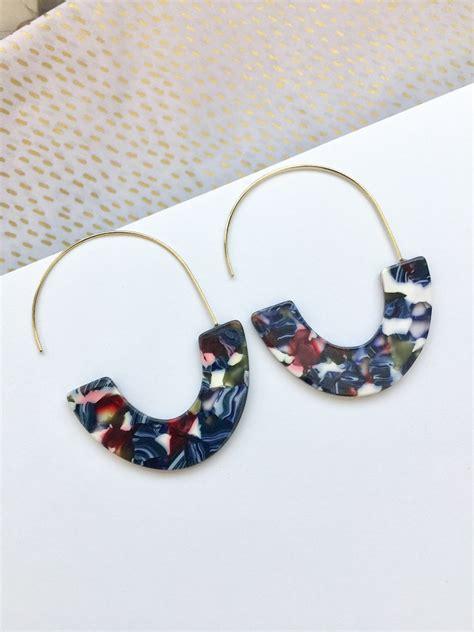 Geometric Acrylic Earring blue acrylic geometric hoop earrings u shaped tortoise