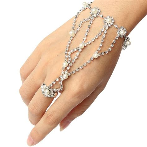 buy silver plated pearl rhinestone ring bracelet metal