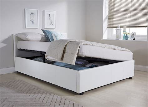 side ottoman bed side lift ottoman storage double bed frame in white faux