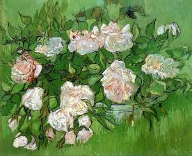 Van Gogh Flowers In A Blue Vase Still Life Pink Roses 1890 Vincent Van Gogh Wikiart Org