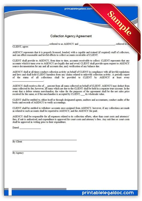 Credit Collection Form Letters Free Printable Collection Agency Agreement Sle Printable Forms Forms