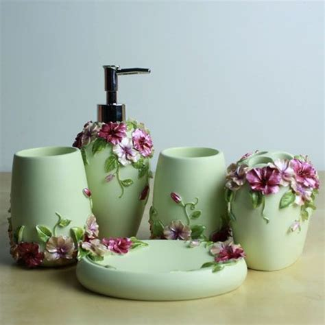 floral bathroom accessories set fashion and gorgeous 5 pcs resin bathroom accessory set