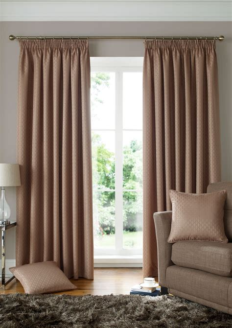 beige lined curtains woven jacquard squares beige lined pencil pleat curtains