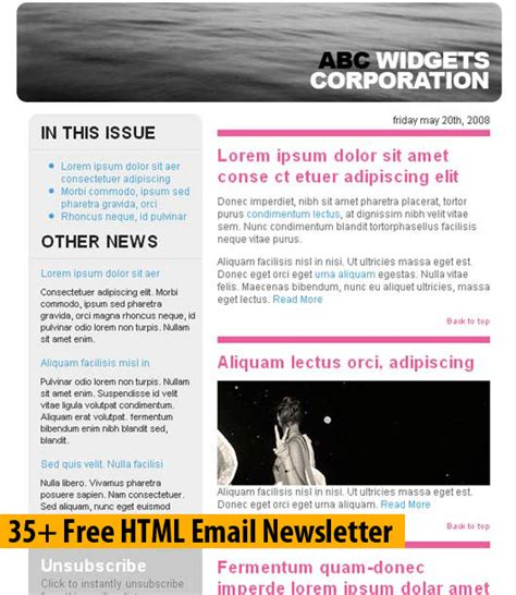 free html newsletter templates for email 35 free html email newsletter dzinepress