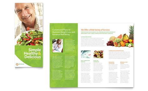nutritionist dietitian tri fold brochure template design