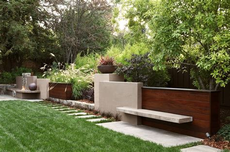 Tall Fern Planters Landscape Contemporary With Modern Contemporary Garden Walls