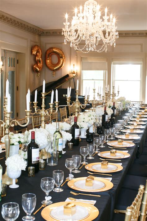 30th birthday dinner ideas black gold white all a grown up