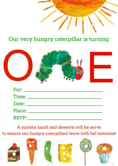 Hungry Caterpillar Invitation Template Free the hungry caterpillar printables