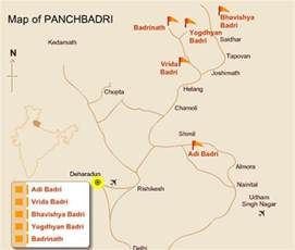 badrinath location map with panch badris badrinath