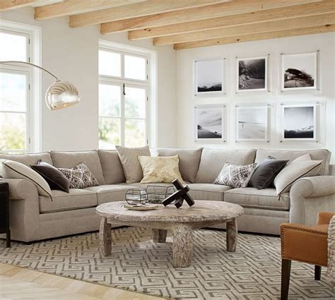 pearce sofa pottery barn pearce upholstered 3 piece l shaped sectional down blend