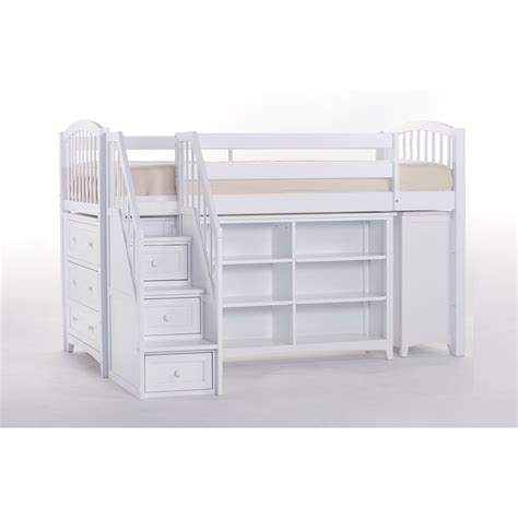 ne kids school house white storage junior loft bed with