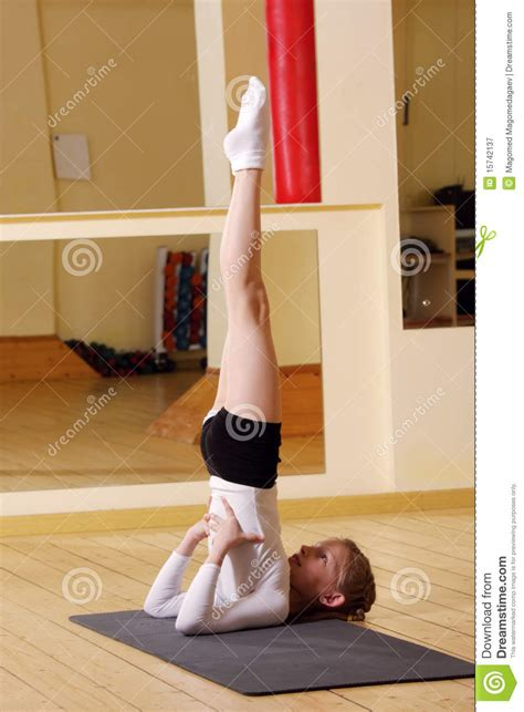 little girls legs little gymnast stretching legs up stock image image of