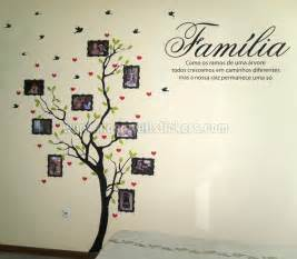 family tree with photo frames wall sticker quote portuguese decal vine branch removable