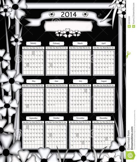 Foto Calendario Originale Calend 225 Preto E Branco Original Do Design Floral 2014