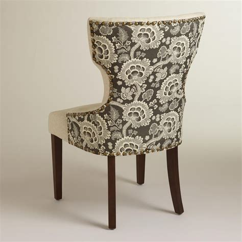 black floral and linen maxine dining chair accent chairs