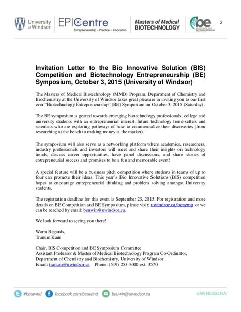Invitation Letter Format For Symposium Be Symposium And Bis Invitation