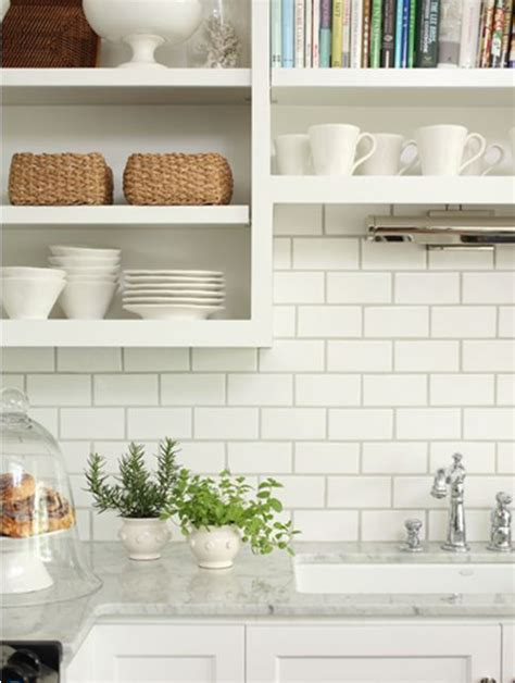 kitchen up backsplash white subway tiles grey