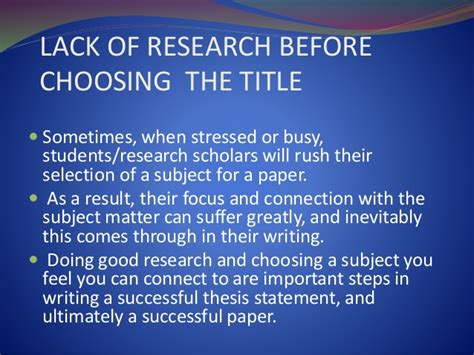 choosing a dissertation title common errors in writing a research paper
