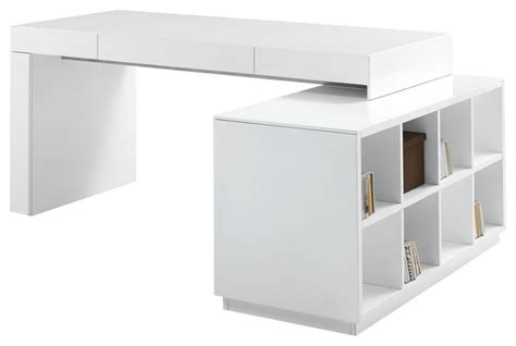 Modern White Lacquer Desk J M S005 Modern Office Desk In White Lacquer Finish Modern Desks And Hutches By Furniture