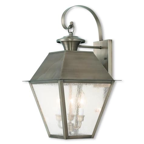 Pewter Outdoor Lighting Livex Lighting Mansfield 2 Light Vintage Pewter Outdoor Wall Mount Lantern 2168 29 The Home Depot