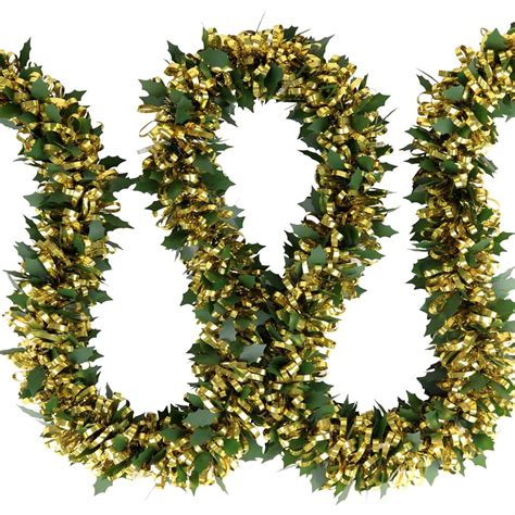 pre lit 2m holly tinsel christmas light garland with