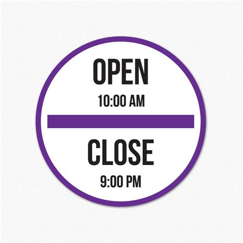 business hours sticker custom business hours sign