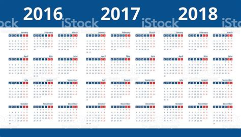 Calendar Weeks 2018 Calendar 2016 2017 And 2018 Week Start On Monday Stock