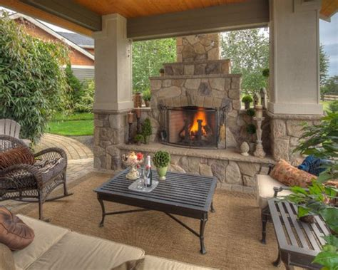 outdoor fireplace decor covered patios with fireplaces home design ideas pictures