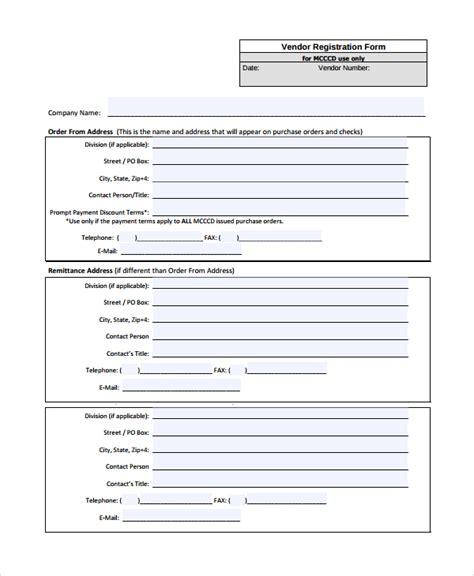 9 Sle Vendor Registration Forms Sle Templates Vendor Registration Template